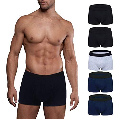 5teile/los Männlichen Höschen Baumwolle männer Unterwäsche Boxer Atmungsaktiv Mann Boxer Solide Unterhose Komfortable Marke Shorts (Zwei schwarz, Zwei blau und EIN weiß) (Großhandel Kleidung Männer)