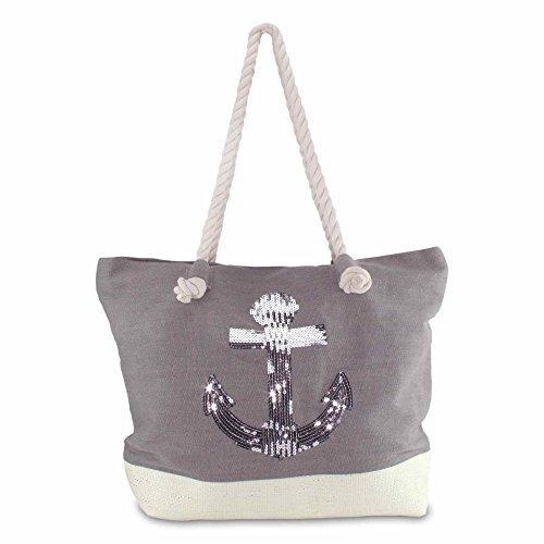 MC-TREND® Strandtasche Shopper für Strand Pool Schwimmbad mit Stern oder Anker aus Pailletten - Damen Tasche Beach Bag Sommertasche (Grau mit Anker)