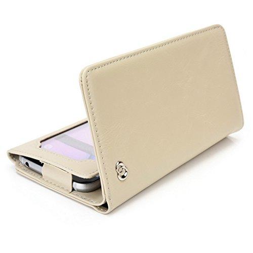 Kroo Portefeuille unisexe avec Huawei Ascend y540ajustement universel différentes couleurs disponibles avec affichage écran Marron - marron Beige - beige