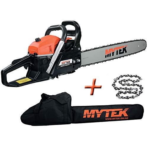 MYTEK - Tronçonneuse thermique 62cm3 avec 2 chaines guide 60cm et housse - gpsot83230