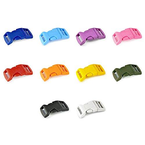 Ganzoo Klickverschluss aus Kunststoff im 20er Farb-Mix Set, 5/8'' Klippverschluss/Steckschließer/Steckverschluss für Paracord-Armbänder, Hunde-Halsbänder, Rucksack -