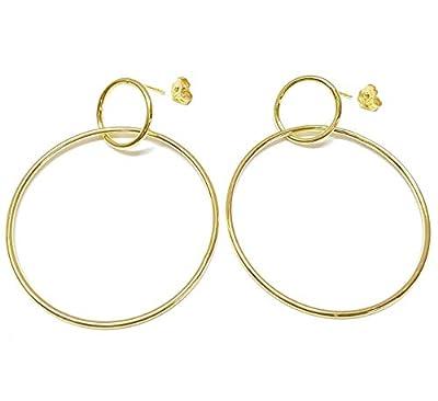 Linea Italia bijoux - Cercles en argent 925 dorés - Boucles d'oreilles pour femme Made in Italy