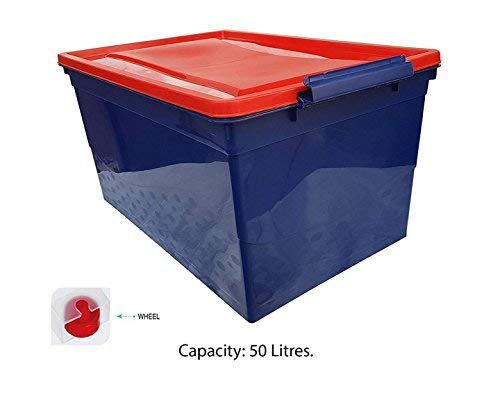 Khandelwal & khandelwal Nilkamal Stackable Storage Box with Wheels (50L, Blue and Red)