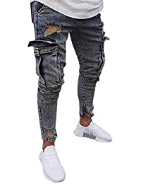 semen Herren Hosen Slim-Fit Männer Lang Skinny Jeans Destroyed Jeans Stretch -Jeans Zerrissen 9eedd237fc