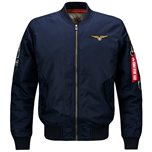 WS668 Hommes Casual Manteau Stand Collar Veste Mens Classic Coats Patch Jackets Marine Bleu#1