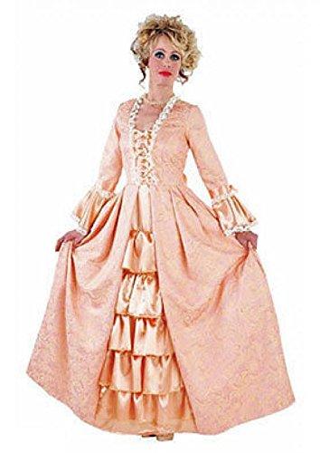 M214169-L-A lachs Damen Rokoko Barock Kostüm Kleid Prinzessin Marquise lang (Kostüm Baronin)