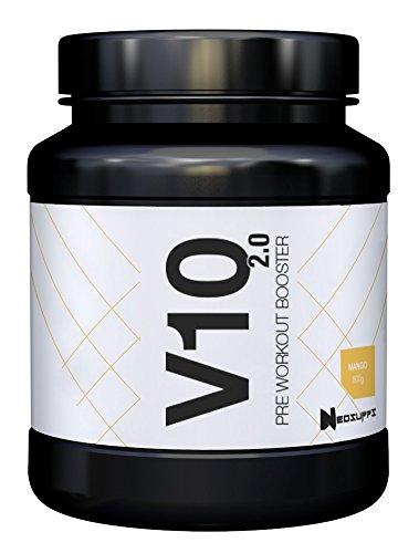Pre-Workout Fitness Booster für Muskelaufbau & maximalen Pump   Bodybuilding & Trainingsbooster mit Beta Alanin, Kreatin und Koffein für mehr Leistung, Fokus   Neosupps V10 Booster - Mango -