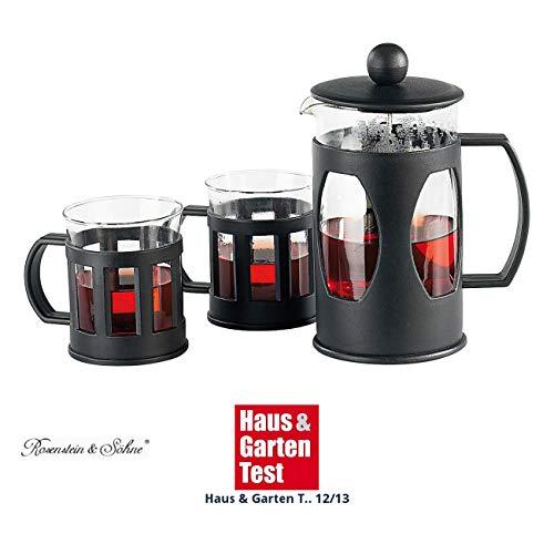 Rosenstein & Söhne French Press: Kaffee- & Teebereiter Set mit 2 Tassen, 600ml (Stempelkanne)