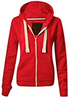 Ladies Womens Plain Colour Hoodie zip sweater hood plus size (UK 8-22)