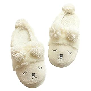 Alxcio Women Ladies Winter Home Shoes Fuzzy Sheep Face Slip On Slippers Indoor Skidproof Slipper, White/ UK Size 2-3