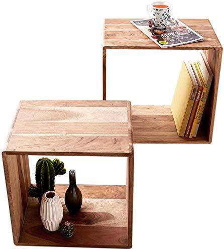 DELIFE Cube Eolo 50x30 cm Akazie Natur 2er Set Massivholz