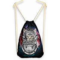 pretty321 Space Travelling Cat Outdoor Sport Cinch Sack Backpacks Drawstring