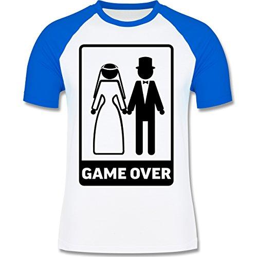 JGA Junggesellenabschied - Game Over - zweifarbiges Baseballshirt für Männer Weiß/Royalblau