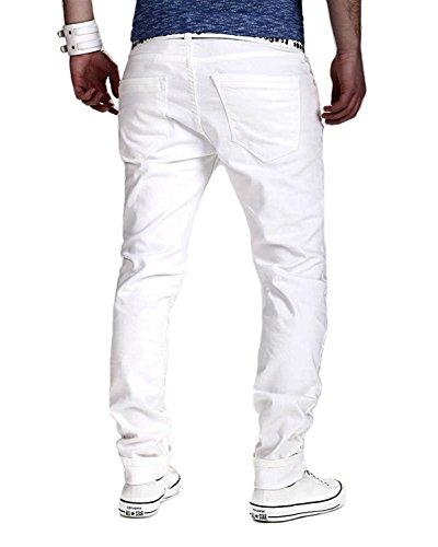 Minetom Elasticizzati da Uomo Strappati Jeans Taglio Straigh Pantaloni Skinny Mode Casual Sguardo Distrutto Patchato Stile Bianco