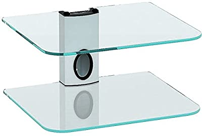 Sky Box Wall mount bracket, DVD Wall Bracket, DVD Wall Mount and 2 x Floating clear glass shelves with White column - inexpensive UK light shop.