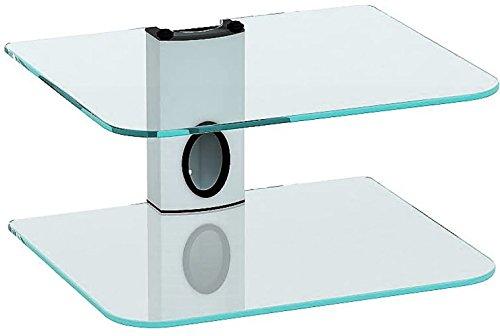 Sky Box Wandhalterung, DVD-Wandhalterung mit 2Ablagen aus Klarglas und weiße Säule