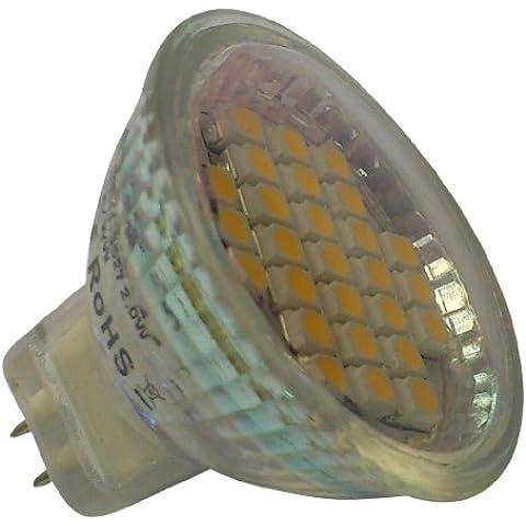 2x MR1127LED SMD 10–30V DC/AC 10–18V 2W 120lm luce bianca calda con copertura in vetro (~ 25)