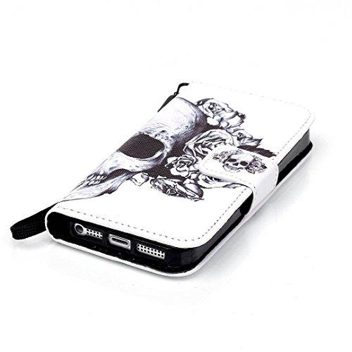 iPhone 5/5S Hülle im Bookstyle, Xf-fly® PU Leder Flip Wallet Case Cover Schutzhülle für Apple iPhone 5/5S Tasche Handytasche Schutz Etui Schale Handyhülle P-8