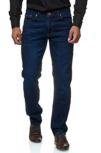 Jeel Herren-Jeans - Slim-Fit - Stretch - Jeans-Hose Basic Washed - 01-Navy 40W/34L (Stretch-jeans)