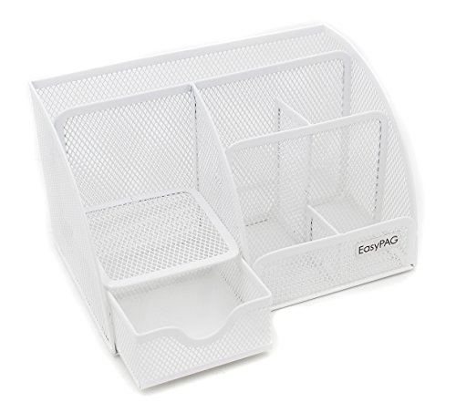 Slide-out Schubladen (easypag Mesh Schreibtisch Organizer 5 Fächer und 1 Slide Out Schublade Desktop Collection Office Supply Caddy, Violett 8.7 X 5 X 5.5 inche weiß)