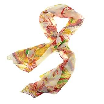 sourcingmap® Lady Chiffon Bohemia Indian Style Feather Pattern Scarf Shawl