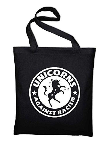 Unicorns Against Racism Fun Gegen Rassismus Faschismus Jute Jutebeutel, Beutel, Stoffbeutel, Baumwolltasche, schwarz