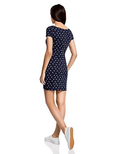 oodji Ultra Damen Jerseykleid Basic Blau (7910O)