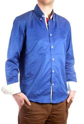 Carisma uomo Camicia maniche lunghe vestibilità slim, uomo shirt alla moda Camicia casual 8077 Blu