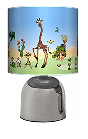 JUNGLE / ZOO / SAFARI ANIMALS - BEDSIDE TOUCH LAMP - BOYS / GIRLS BEDROOM LIGHT / LAMP SHADE - NURSERY - MAINS OPERATED (UK