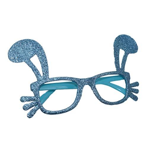 BESTOYARD Glitter Bunny Shaped Glasses Frame Lustige Ostern Party Brillen Kaninchen Dress up Kostüm für Ostern Geburtstag Party Supplies