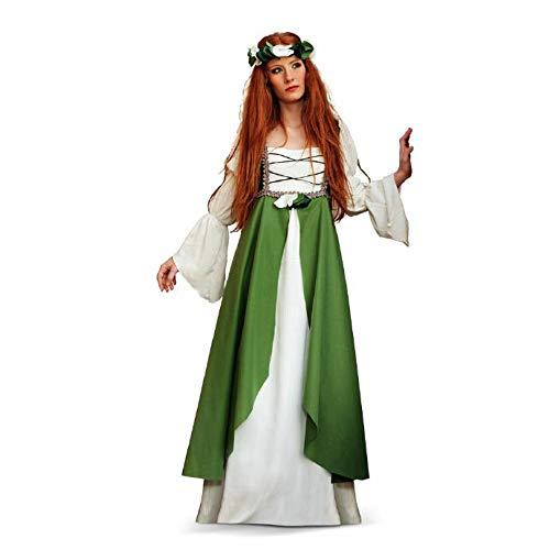 Limit Sport Mittelalter Kostüm Kleid Damen Miss Clarisa grün bodenlang mit Überkleid und Stirnband - ()
