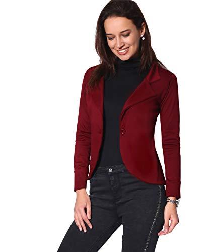 KRISP Smart Casual Stoff Fashion Blazer (Weinrot, Gr.44) (3558-WIN-16)