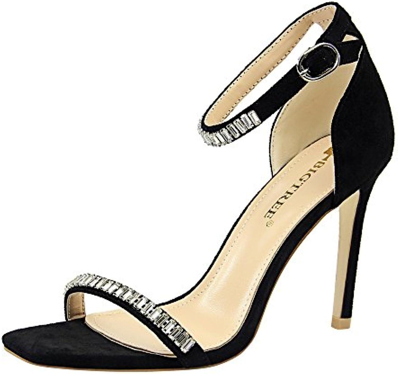 Sexy, Banquete, Verano, Zapatos de Mujer, Stiletto, Punta Abierta, Diamantes de Imitación, Cinta, Sandalias