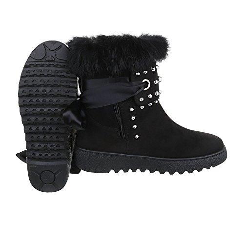 Klassische Stiefeletten Damenschuhe Schlupfstiefel Warm Gefütterte Reißverschluss Ital-Design Stiefeletten Schwarz