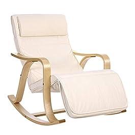 SONGMICS Fauteuil à bascule en bois de bouleau, Chaise berçante avec repose-pied réglable sur 5 hauteurs, housse en…