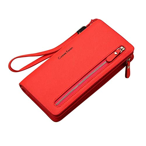 HeiPlaine Weiblich Damen Trifold Wallet Leder Card Holder Reißverschluss Clutch Wallet Wristlet Damen Geldbörse Griff Tasche (Farbe : Red) -