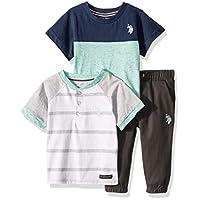U.S. Polo Assn. Baby Boy's 3 Piece Short Sleeve Henley, T-Shirt, and Jogger Set Pants, Mint, 24M
