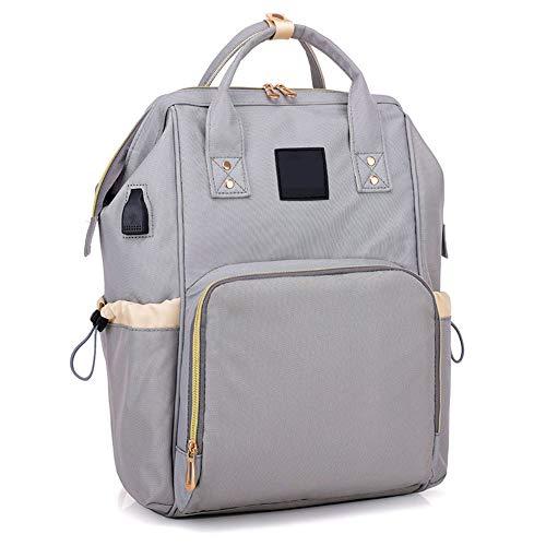 Unbekannt Mali Mode Rucksack USB Multifunktional Einfarbig Große Kapazität Mamabeutel Reisetasche 26 * 17 * 44 cm,Gray