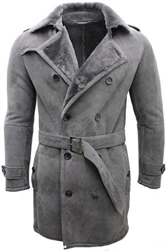 Infinity Männer Grau Militär zweireihiger Echt Schaffell Suede PEA Coat XL