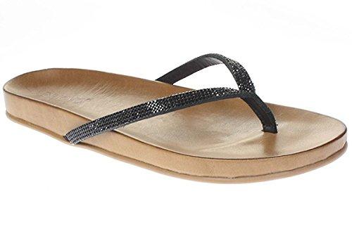 Inuovo 6115 - Sandalettes Pour Femme Mule Tongs Noir