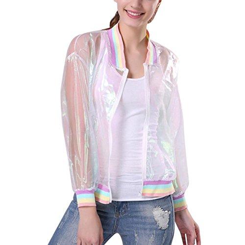 MCYs Damen Sommer Langarm Rainbow Collar Laser Harajuku Jacke Transparent Cool Sonnenschutz Shirt Spleißkragen Lose Mehrfarbig Mantel Einzigartig