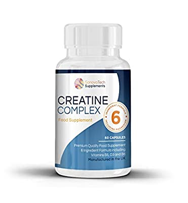 Creatine - Creatine Monohydrate with Magnesium, Zinc, Vitamin B6-60 Capsules from Sonovatech Suppliments