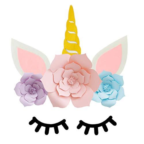 Amosfun DIY Einhorn Party Dekorationen Hintergrund Einhorn Blume Hintergrund mit L Geburtstag Party Requisiten für Geburtstag Party Verlobung Hochzeit Dekorationen (1 Stück 30 cm + 1 Stück 20 cm) (Papier Diy Blume Hintergrund)