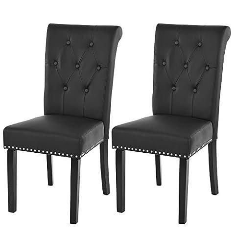 Lot de 2 chaises de salle à manger Chesterfield II av rivets ~ similicuir noir, pieds foncés