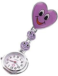 SODIAL(R) Reloj Tipo Enfermera Cuarzo Esfera Redondo Corazon Risa Color Purpura