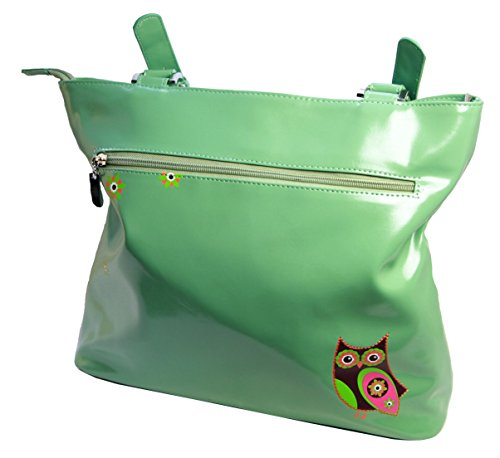 Shagwear borsa larga per giovani donne shopper , Large Tote Bag : gufo turchese chiaro/ Retro Owl