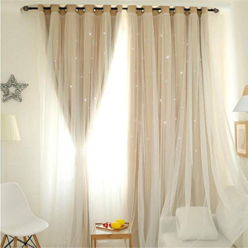 Tulle tenda doppio strato di garza tende stelle tende moderne della camera da letto in stile minimalista in stile nordico