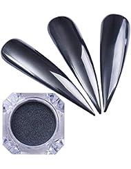 NICOLE DIARY 1 Box Schwarz Spiegel Nagel Pulver Glänzende Maniküre Nail art Chrom Pigment Glitter Staub Dekoration