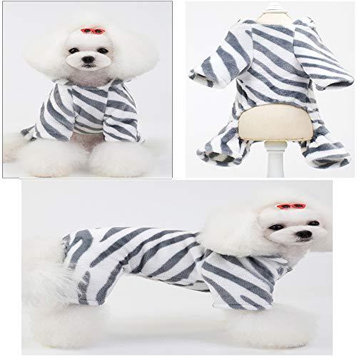 Kostüm Vierbeinigen - Yhjmdp Haustier Hund Streifen Zebra vierbeinigen Kleidung Doppelt Seitig Flanell Komfort und Warm für Klein Mittel Hunde Katzen Mantel Herbst Winter Jacke,Gray,L