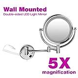 Exelvan®LED Beleuchtet Wandspiegel Standspiegel Kosmetikspiegel Schminkspiegel 5-fach Vergößerung